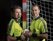 Arthur Brunner und Morad Salah, die Schweizer Stars an der Handball-WM in Deutschland und Dänemark. (Bild: Michel Canonica)