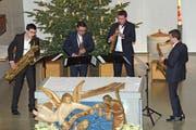 Das Saxofonquartett Multiphonix mit (v.l.) Rafael Frei, Fabio Devigili, Lukas Simma und Tom Hirlemann spielte vielfältig. (Bild: Theodor Looser)