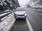 Der Lenker blieb unverletzt - und kam mit dem Schrecken davon. Das Auto indes hat sichtlich Schaden genommen. (Bild: Kapo Uri)