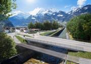 So soll die Verkehrsführung beim Coop-Kreisel und bei der Schächenbrücke in Schattdorf dereinst aussehen. (Visualisierung: Baudirektion Uri)