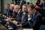 Fünf Männer, keine Frau: Der Luzerner Regierungsrat in seiner aktuellen Zusammensetzung. (Bild: Nadia Schärli (Luzern, 22. Oktober 2018))