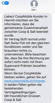 Dieses SMS versendet Salt an Coop-Mobile-Kunden. Bild: CH Media.