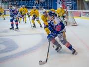 Die gelben Thurgauer hier in einer Szene aus einem Match in Kloten (Bild: KEYSTONE/MELANIE DUCHENE)
