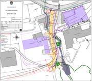 Der Bauplan im Detail: Violett markiert sind der neue Werkhof und das Feuerwehrdepot, dunkelgrau rechtsunten ist der Kiesfang zu sehen. Gelb eingezeichnet ist der neue Verlauf der Hüttenmoosstrasse. (Bild: PD)