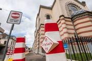 Verstärkte Sicherheitsmassnahmen um die Basler Synagoge nach den Anschlägen in Halle. (Bild: niz)
