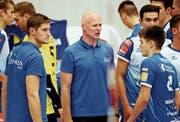 Marko Klok (Mitte) coacht auch in der Saison 2019/20 eine internationale Amriswiler Equipe. (Bild: Mario Gaccioli, Amriswil, 21. September 2019)