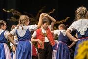 Auch an der offiziellen Eröffnung der Olma war die IG Volkskultur vertreten. Im Bild die Kindertanzgruppe Kreuzberg Gams/Grabs. (Bild: Michel Canonica - 10. Oktober 2019)