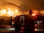 Retten, was noch zu retten ist - Feuerwehrleute in Sylmar nördlich von Los Angeles. (Bild: KEYSTONE/AP The Orange County Register/DAVID CRANE)