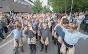 Jungschwinger liefen während des diesjährigen Esaf in Zug am Festumzug mit.Bild: Urs Flüeler/Keystone (23. August 2019)