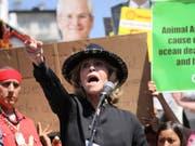 Die US-Schauspielerin Jane Fonda wurde von der schwedischen Klima-Aktivistin Greta Thunberg inspiriert. Das Bild zeigt Fonda an einer Demonstration in Los Angeles am 20. September. (Bild: KEYSTONE/AP FRE 171705/DAVID SWANSON)