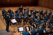Die Musikgesellschaft Schüpfheim bei ihrem Auftritt im KKL. (Bild: Corinne Glanzmann, Luzern, 12. Oktober 2019)
