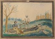 «Hungernde Familie, der Tod im Rücken»: ein Ausschnitt aus einem Gedenkblatt zur Hungersnot 1816/1817, im Besitz des Toggenburger Museums. (Bild: PD)
