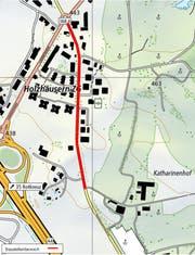 Rot markiert: der Baustellenbereich an der Holzhäusernstrasse. (Bild: PD)