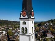 Höchster Turm einer katholischen Kirche in der Schweiz: Die Pfarrkirche St. Martin in Malters. (Bild: Dominik Wunderli, 16. Oktober 2019)