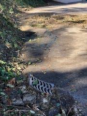 Risse und Erhebungen im Strassenbelag der Stockenstrasse zeugen von der Kraft der Hangbewegung.