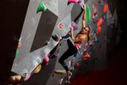 Petra Klingler während des Trainings in der Kletterhalle Gaswerk in Schlieren. (Bild: Severin Bigler)