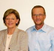 Präsidentin Lisbeth Gabriel mit dem neu gewählten Vorstandsmitglied Peter Scheuber. (Bild: Franz Odermatt, Stans, 16. Oktober 2019)