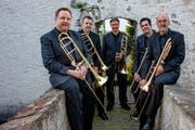 Das Posaunenquintett Tromburi mit Daniel Gutjahr, Patrik Stadler, Christoph Schmid, Philipp Gisler und Urs Zenoni (von links). (Bild: PD)