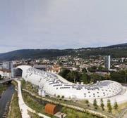 Der neue Swatch-Hauptsitz in Biel. Der Entwurf des futuristischen Gebildes mit einer Trägerkonstruktion aus Holz stammt vom japanischen Architekten Shigeru Ban. (Bild: Peter Klaunzer/Keystone, 5. August 2019)