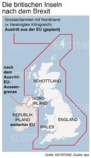 Tritt Grossbritannien mit seinen vier Landesteilen aus der EU aus, entsteht eine Grenze zwischen Nordirland und der Republik Irland. (Bild: Keystone, Montage: dpa)