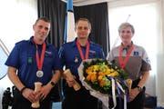 Gewinner der Kategorie Gewehr, 300 Meter (von links): Andreas Senn, Patrick Boldini, Sandra Monney.
