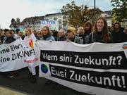Die Streikenden in der Stadt Luzern. (Bild: PD)
