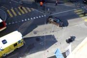 Die Unfallstelle auf dem Verkehrsknoten Kornhaus-, David-, Teufener- und Gartenstrasse sowie Wassergasse. (Bild: Stadtpolizei St.Gallen - 17. Oktober 2019)