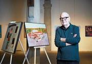 Der Luzerner Künstler Giorgio Avanti in seiner Ausstellung in der Kornschütte Luzern. Bild: Jakob Ineichen (Luzern, 15. Oktober 2019)