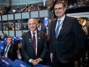 Bundespräsident Maurer und Nationalbank-Chef Jordan nahmen an der Plenarsitzung der IWF-Jahrestagung in Washington teil. (Bild vom 18. Oktober) (Bild: KEYSTONE/EPA/ERIK S. LESSER)