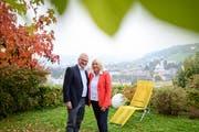 Im Bild ist Gallivater 2020, Hugo Herzog mit seiner Frau Lucette Oggier Herzog in ihrem Garten über Kriens. (Bild: Roger Grütter, Kriens, 20. Oktober 2019)