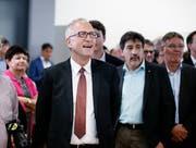 Peter Hegglin, wiedergewählter CVP-Ständerat freut sich an seinem Ergebnis. (Bild: Stefan Kaiser, Zug, 20. Oktober 2019)