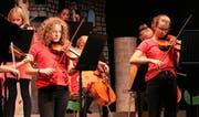 Das 15-köpfige Musikschul-Streichorchester von Barbara Gschwend begleitete Mathilda auf ihrer kunterbunten Reise. (Bild: Max Pflüger)