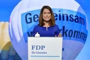 Für FDP-Präsidentin Petra Gössi war der Wahltag enttäuschend - auch wenn die Verluste weniger gross ausfielen als bei SP und SVP (Bild: Keystone)