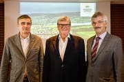 Kraftgegend-Macher: Projektleiter Thomas Harder, Initiant Roman Ochsner und Vereinspräsident Roland Werner. (Bild: Donato Caspari)