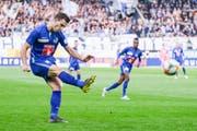 Diese Flanke von Kakabadse führte zu keinem Tor, doch im Spiel gegen Xamay will der Georgier einen Assist liefern. (Bild: Martin Meienberger/freshfocus)