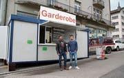 Dario Hefti (links) und Andrin Fröhlich haben die Olma-Garderobe 2015 ins Leben gerufen. (Bild: Sheila Eggmann (19.Oktober 2016))