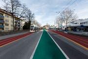 Illustration wie die Rorschacher Strasse im Grossacker mit einer Tramlinie aussehen könnte. (Illustration: Stadt St.Gallen - 31. Dezember 2012)