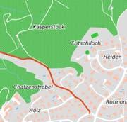 Die Strebelstrasse führt - grösstenteils durch Wiesen und Wald - aus Rotmonten zur Hätterenstrasse kurz vor der Stadtgrenze zu Wittenbach. (Illustration: Stadt St.Gallen)