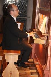 Als Gast trat Organist Karl Arnold am Konzert mit Tromburi auf. (Bild: Paul Gwerder, Erstfeld, 25. Oktober 2019)