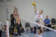 Edvarts Buivids gefällt bei Volley Luzern mit seiner Zuverlässigkeit. Bild: Manuela Jans-Koch (Luzern, 27. Oktober 2019)