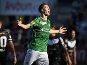 St. Gallens Cedric Itten jubelt über den 3:1- Sieg in Lugano (Bild: KEYSTONE/GIAN EHRENZELLER)