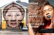 Das Graffiti an der Offenen Kirche und der Flyer zum Dankesfest vom 9. November. (Bilder: Sabrina Stübi/Offene Kirche)