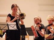 Posaunistin Sophie Bright gastierte mit dem Jugendorchester Bodensee in der evangelischen Kirche Amriswil. (Bild: Barbara Hettich)