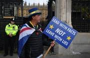 Ein Demonstrant und Brexit-Gegner vor dem britischen Parlament. (Bild: Keystone)