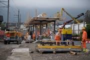 Die Bauarbeiten in Hergiswil laufen auf Hochtouren. (Bild: Corinne Glanzmann, Hergiswil, 23. Oktober 2019)