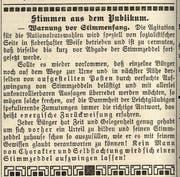 Vor 100 Jahren anlässlich der Nationalratswahlen in der Zeitung. (Bild: PD)
