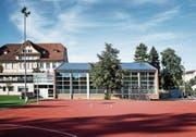 Vorbildlich: Das Hochdorfer Schulhaus Arena verfügt über eine Solaranlage auf dem Dach.Bild: Manuela Jans-Koch (3. Oktober 2019)