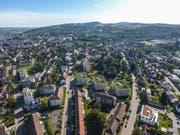 Die Stadt Frauenfeld aus der Vogelperspektive, von Westen her. (Bild: Olaf Kühne)