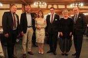 Feierten mit Personal Thurgau (von links): Marc Kohler, Marco Wäckerlig, Pakize Emini Dauti, Regierungspräsident Jakob Stark, Anne Varenne und Verbandspräsident Bruno Lüscher. (Bild: Manuela Olgiati)