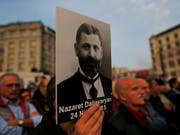 Demonstranten in Istanbul erinnerten im April an die Ermordung von armenischen Intellektuellen im Jahr 1915. (Bild: KEYSTONE/AP/LEFTERIS PITARAKIS)